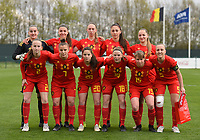 20190403  - Tubize , BELGIUM : Belgian team with Femke Bastiaen (1)   Sari Kees (2)   Romy Camps (3)   Ella Vierendeels (5)   Karlijn Knapen (7)   Amber Tysiak (8)   Lisa Petry (9)   Janne Geers (11)   Aster Janssens (15)   Stephanie pirotte (18)   Constance Brackman (20)   pictured during the soccer match between the women under 19 teams of Belgium and Switzerland , on the first matchday in group 2 of the UEFA Women Under19 Elite rounds in Tubize , Belgium. Wednesday 3 th April 2019 . PHOTO DIRK VUYLSTEKE / Sportpix.be