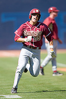 Tyler Holt #15 of the Florida State Seminoles rounds third to score a run versus the Miami Hurricanes at Durham Bulls Athletic Park May 21, 2009 in Durham, North Carolina.  (Photo by Brian Westerholt / Four Seam Images)