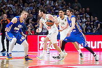 Real Madrid's Rudy Fernández and Gustavo Ayón and Khimki Moscow's Paul Davis and Alexey Shved during Euroleague match at Barclaycard Center in Madrid. April 07, 2016. (ALTERPHOTOS/Borja B.Hojas) /NortePhoto