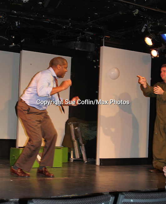 "Curtain Call - 7th Anniversary of Layon Gray's ""Black Angels Over Tuskegee"" - Straighten Up Fly Right - cast -Thaddeus Daniels, Craig Colasanti on February 10, 2017 at St. Luke's Theatre, New York City, New York. (Photo by Sue Coflin/Max Photos)"