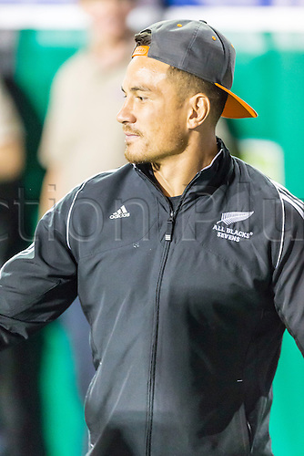 04.03.2016. Las Vegas, Nevada, USA.  Sonny Bill Williams congratulates the All Blacks as they leave the pitch after the Pool A match between New Zealand and Russia at the USA Sevens held March 4-6, 2016 at Sam Boyd Stadium in Las Vegas NV. Final score NZ 38, Russia 0.