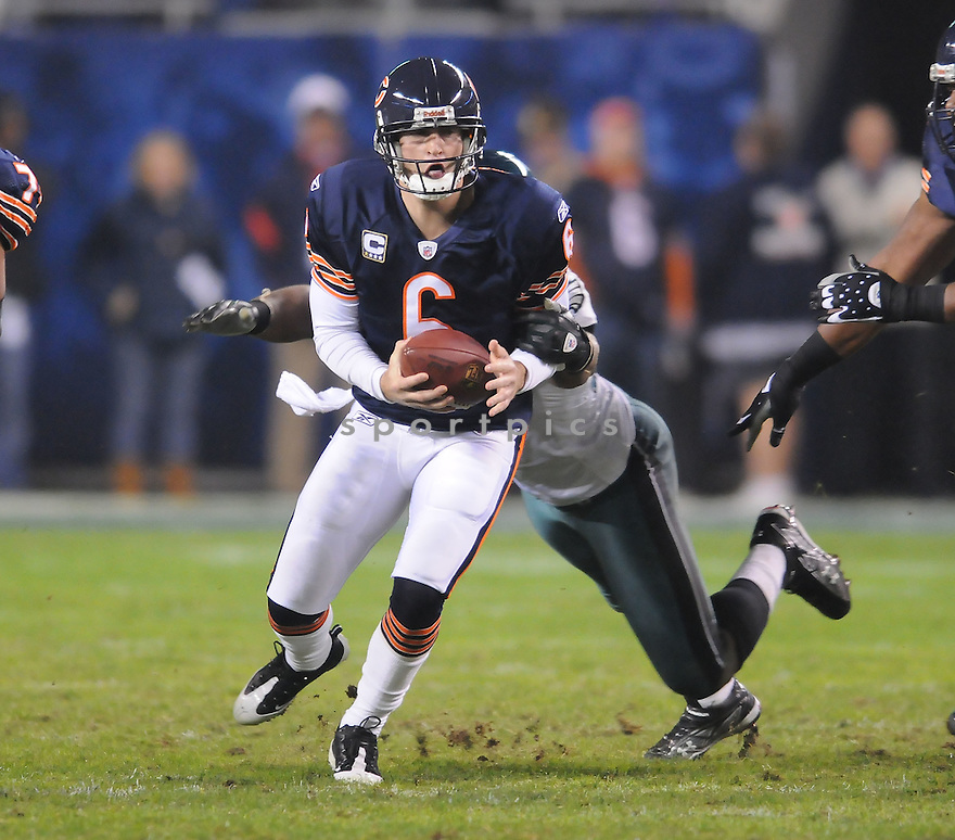 JAY CUTLER, of the Chicago Bears, in action during the Bears game against the Philadelphia Eagles on November 22, 2009 in Chicago, IL.  Eagles won 24-20