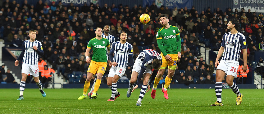 Preston North End's Sean Maguire has a headed shot on goal<br /> <br /> Photographer Dave Howarth/CameraSport<br /> <br /> The EFL Sky Bet Championship - West Bromwich Albion v Preston North End - Tuesday 25th February 2020 - The Hawthorns - West Bromwich<br /> <br /> World Copyright © 2020 CameraSport. All rights reserved. 43 Linden Ave. Countesthorpe. Leicester. England. LE8 5PG - Tel: +44 (0) 116 277 4147 - admin@camerasport.com - www.camerasport.com