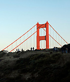 USA, California, San Francisco, the North tower of the Golden Gate Bridge seen from the Marin Headlands