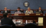 Members of the Senate Judiciary committee work on the final day of the 77th Legislative session at the Legislative Building in Carson City, Nev., on Monday, June 3, 2013. From left, are Sen. Greg Brower, committee counsel Nicolas Anthony, Sens. Tick Segerblom and Ruben Kihuen.<br /> Photo by Cathleen Allison
