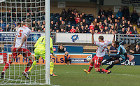 Gozie Ugwu of Wycombe Wanderers fires a shot at goal during the Sky Bet League 2 match between Wycombe Wanderers and Stevenage at Adams Park, High Wycombe, England on 12 March 2016. Photo by Kevin Prescod/PRiME Media Images.
