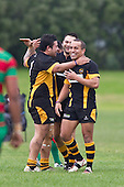 Bombay players celebrate their second try. Counties Manukau Premier Club Rugby game between Waiuku and Bombay, played at Waiuku on Saturday July 5th 2010. Waiuku won 59 - 14 after trailing 12 - 14 at halftme.