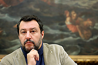 Senator Matteo Salvini<br /> Rome November 13th 2019. Salvadori Hall. Press conference of the Lega Nord party on the economic maneuver.<br /> Foto  Samantha Zucchi Insidefoto
