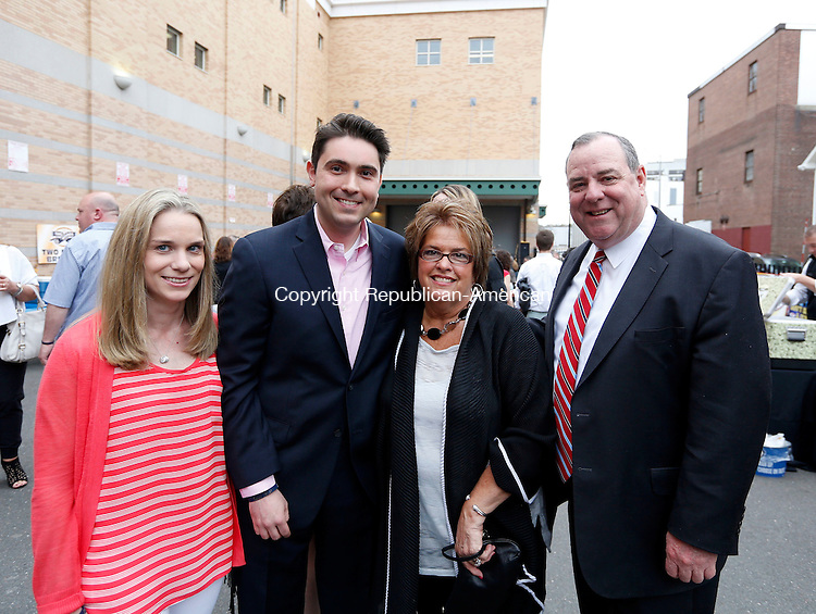 Waterbury, CT- 10 May 2015-050115CM17- Social moments, from left: Heather and Vincent Farisello of Woodbury, Sue McGrath of Waterbury with Waterbury Mayor, Neil M. O'leary photographed at the Palace Theater in Waterbury on Friday May 01, 2015.  The Palace Theater held a 10th anniversary bash with various events and entertainment throughout the theater.  Christopher Massa Republican-American