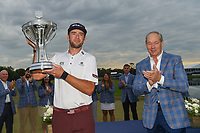Lanto Griffin (USA) hoists the trophy as tournament CEO and owner, Jim Crane applauds following the 2019 Houston Open, Golf Club of Houston, Houston, Texas, USA. 10/13/2019.<br /> Picture Ken Murray / Golffile.ie<br /> <br /> All photo usage must carry mandatory copyright credit (© Golffile | Ken Murray)