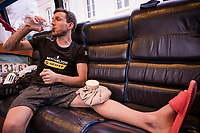 Adam Yates (GBR/Mitchelton-Scott) (preventively) ice-cooling the knee in the teambus after being involved a race crash earlier in the day<br /> <br /> 83rd La Flèche Wallonne 2019 (1.UWT)<br /> One day race from Ans to Mur de Huy (BEL/195km)<br /> <br /> ©kramon