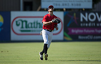 Kannapolis Intimidators left fielder Aaron Schnurbusch (21) settles under a fly ball during the game against the Delmarva Shorebirds at Kannapolis Intimidators Stadium on July 2, 2017 in Kannapolis, North Carolina.  The Shorebirds defeated the Intimidators 5-4.  (Brian Westerholt/Four Seam Images)