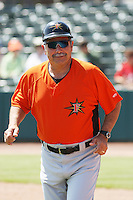 Manager Orlando Gomez #23 of the Frederick Keys coaching 3rd base during a game against the Myrtle Beach Pelicans on May 2, 2010 in Myrtle Beach, SC.
