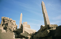 The obelisk of Hatshepshut, and a lesser obelisk, in the precinct of Amun at Karnak. At almost 600 feet, it is the tallest obelisk in Egypt. A second obelisk to Hatshepshut lies beside the sacred lake.