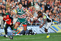 Leicester, England. Niall Morris of Leicester Tigers charges forward during the Aviva Premiership match between Leicester Tigers and Harlequins at Welford Road on September 22, 2012 in Leicester, England.