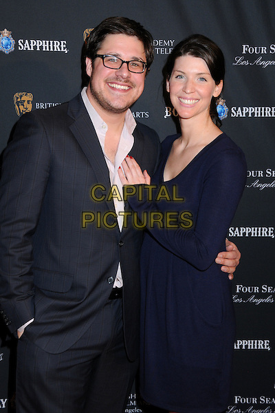 RICH & VIRGINIA SOMMER .17th Annual BAFTA Los Angeles Awards Season Tea Party held at the Four Seasons Hotel, Beverly Hills, California, USA, 15th January 2011..half length navy blue dress grey gray suit white shirt glasses .CAP/ADM/BP.©Byron Purvis/AdMedia/Capital Pictures.