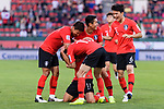 Players of South Korea celebrates after Hwang Heechan of South Korea (#11) scoring a goal during the AFC Asian Cup UAE 2019 Round of 16 match between South Korea (KOR) and Bahrain (BHR) at Rashid Stadium on 22 January 2019 in Dubai, United Arab Emirates. Photo by Marcio Rodrigo Machado / Power Sport Images