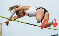 NWA Democrat-Gazette/BEN GOFF @NWABENGOFF<br /> Victoria Hoggard of Arkansas clears the bar Friday, April 12, 2019, during the women's pole vault at the John McDonnell Invitational at John McDonnell field in Fayetteville.
