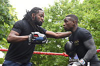Nathaniel Wilson (R) during a Public Work Out at ITV Head Office on 12th July 2017