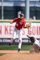 Buffalo Bisons shortstop Munenori Kawasaki (66) catches a pick off throw on a stolen base during a game against the Louisville Bats on May 2, 2015 at Coca-Cola Field in Buffalo, New York.  Louisville defeated Buffalo 5-2.  (Mike Janes/Four Seam Images)