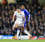 Chelsea's Willian tussles with PSG's Angel Di Maria<br /> <br /> - UEFA Champions League - Chelsea vs Paris Saint Germain - Stamford Bridge - London - England - 9th March 2016 - Pic David Klein/Sportimage