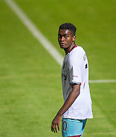 Olatunji Akinola of West Ham United U21s during the The Checkatrade Trophy match between Wycombe Wanderers and West Ham United U21 at Adams Park, High Wycombe, England on 4 October 2016. Photo by Andy Rowland.