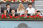 Real Madrid's basketball team Sergio Llull (t-r) and his wife Almudena Canovas (2t-r) and Rudy Fernandez (2l) and his wife Helen Lindes (l) and the Spanish national basket team coach Sergio Scariolo (2r) during Madrid Open Tennis 2016 match.May, 5, 2016.(ALTERPHOTOS/Acero)
