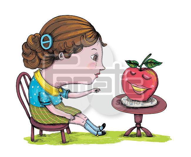 Illustration of woman having apple over white background