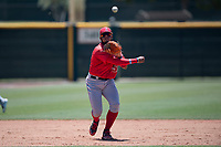 Los Angeles Angels third baseman Kevin Maitan (53) makes a throw to first base during an Extended Spring Training game against the Giants Black at the San Francisco Giants Training Complex on May 25, 2018 in Scottsdale, Arizona. (Zachary Lucy/Four Seam Images)