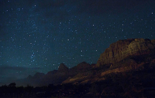 The stars are abundant during the night sky at Zion National Park, Utah
