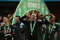 Pep Guardiola singing after the Trophy lift.  Aston Villa vs Manchester City, Caraboa Cup Final Football at Wembley Stadium on 1st March 2020