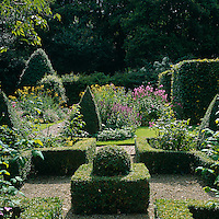 Gravel paths wend their way around the garden between the flowerbeds with low borders of box hedges.