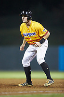 Anthony Villa (37) of the Los Rapidos de Kannapolis takes his lead off of first base against the West Virginia Power at Kannapolis Intimidators Stadium on July 25, 2018 in Kannapolis, North Carolina. The Los Rapidos defeated the Power 8-7 in game two of a double-header. (Brian Westerholt/Four Seam Images)