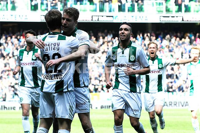 GRONINGEN - Voetbal, FC Groningen - SC Cambuur, Eredivisie, Euroborg, seizoen 2014-2015, 12-04-2015,  Groningen viert de 2-2