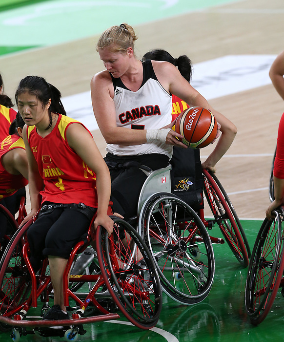 Rio de Janeiro-16/9/2016- Canada plays China in the women's wheelchair basketball at the Rio Olympic Arena during the 2016 Paralympic Games in Rio. Photo Scott Grant/Canadian Paralympic Committee
