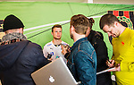 V&auml;llingby 2014-03-30 Fotboll Allsvenskan IF Brommapojkarna - Kalmar FF :  <br />  Kalmars M&aring;ns S&ouml;derqvist intervjuas efter matchen<br /> (Foto: Kenta J&ouml;nsson) Nyckelord:  BP Brommapojkarna Grimsta Kalmar KFF portr&auml;tt portrait intervju