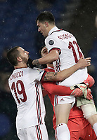Football Soccer: Tim Cup semi-final second Leg, SS Lazio vs AC Milan, Stadio Olimpico, Rome, Italy, February 28, 2018.<br /> Milan's captain Leonardo Bonucci (l) celebrates with his teammates Gianluigi Donnarumma (c) and Alessio Romagnoli (r) after winning the Tim Cup semi-final football match against SS Lazio at Rome's Olympic stadium, February 28, 2018.<br /> UPDATE IMAGES PRESS/Isabella Bonotto