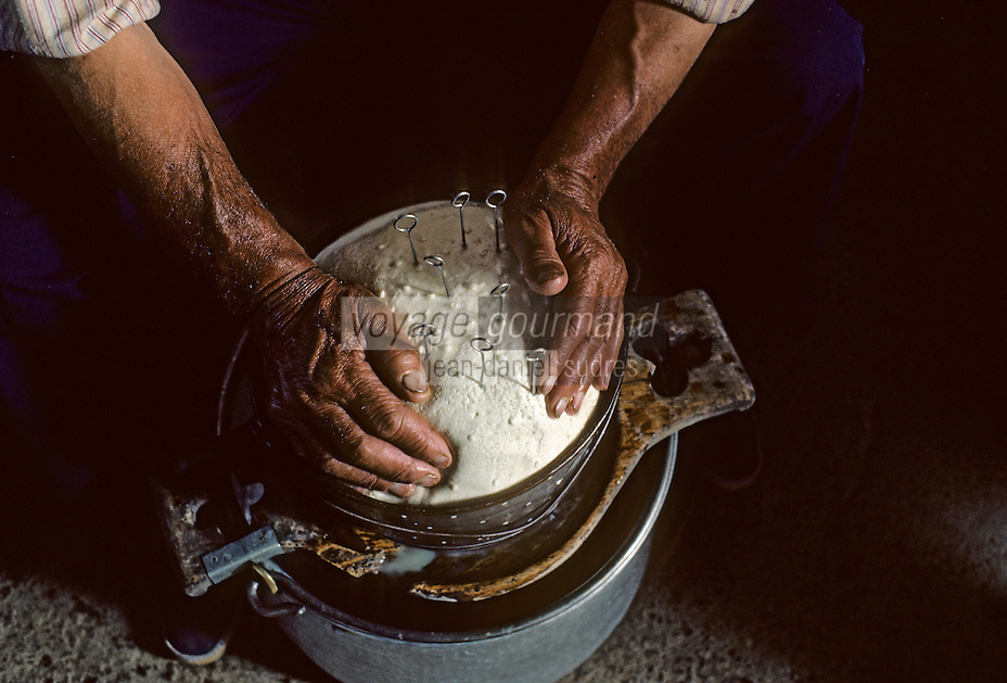 /Europe/France/Aquitaine/64/Pyrénées-Atlantiques/Parc National des Pyrénées: Fabrication du fromage de brebis aux environs du pic du Midi-d'Ossau<br /> PHOTO D'ARCHIVES // ARCHIVAL IMAGES<br /> FRANCE 1980