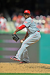 12 April 2012: Cincinnati Reds pitcher Jose Arredondo in action against the Washington Nationals at Nationals Park in Washington, DC. The Nationals defeated the Reds 3-2 in 10 innings to take the first game of their 4-game series. Mandatory Credit: Ed Wolfstein Photo