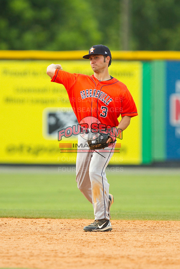 Greeneville Astros shortstop Jack Mayfield (3) makes a throw to first base against the Burlington Royals at Burlington Athletic Park on July 1, 2013 in Burlington, North Carolina.  The Astros defeated the Royals 7-0 in Game One of a doubleheader.  (Brian Westerholt/Four Seam Images)