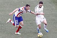 Atletico de Madrid's Saul Niguez (l) and Real Madrid's Daniel Carvajal during La Liga match.February 7,2015. (ALTERPHOTOS/Acero) /NORTEphoto.com