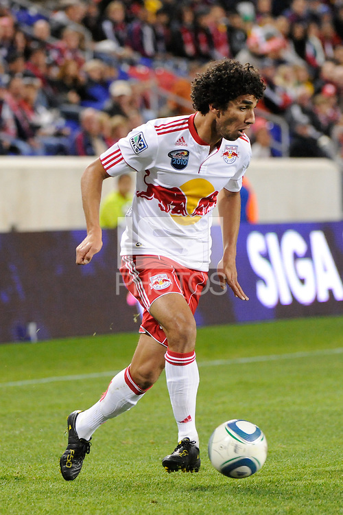 Mehdi Ballouchy (10) of the New York Red Bulls. The New York Red Bulls defeated the New England Revolution 2-0 during a Major League Soccer (MLS) match at Red Bull Arena in Harrison, NJ, on October 21, 2010.