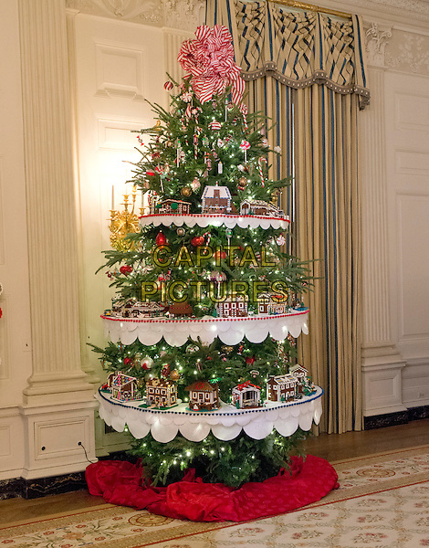 The 2016 White House Christmas decorations are previewed for the press at the White House in Washington, DC on Tuesday, November 29, 2016. Pictured are some of the 56 Lego gingerbread house, one for each state and territory in the State Dining Room.  The first lady's office released the following statement to describe those decorations, &quot;This year&iacute;s holiday theme, 'The Gift of the Holidays,' reflects on not only the joy of giving and receiving, but also the true gifts of life, such as service, friends and family, education, and good health, as we celebrate the holiday season.&quot;<br /> CAP/MPI/CNP/RS<br /> &copy;RS/CNP/MPI/Capital Pictures