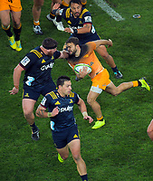 Ramiro Moyano in action during the Super Rugby match between the Highlanders and Jaguares at Forsyth Barr Stadium in Dunedin, New Zealand on Saturday, 11 May 2019. Photo: Dave Lintott / lintottphoto.co.nz