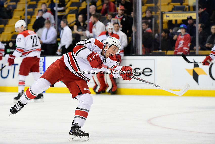 Thursday, December 1, 2016: Carolina Hurricanes left wing Jeff Skinner (53) warms up before the start of the National Hockey League game between the Carolina Hurricanes and the Boston Bruins held at TD Garden, in Boston, Mass. Boston defeats Carolina 2-1 in an overtime shoot-out. Eric Canha/CSM