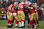 San Francisco 49ers huddle during an NFC Championship NFL football game against the New York Giants on January 22, 2012 in San Francisco, California. The Giants won 20-17 in overtime. (AP Photo/David Stluka)