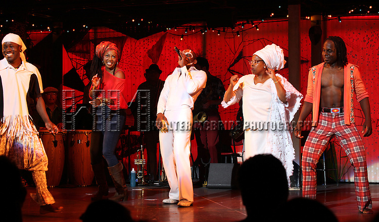 Sahr Ngaujah, Paulette Ivory, Melanie Marshall & Company.during the opening night Curtain Call for the Broadway limited engagement of 'Fela!' at the Al Hirschfeld Theatre on July 12, 2012 in New York City.