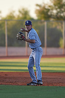 AZL Padres 1 third baseman Chris Givin (9) throws to first base during an Arizona League game against the AZL Indians Red on June 23, 2019 at the Cleveland Indians Training Complex in Goodyear, Arizona. AZL Indians Red defeated the AZL Padres 1 3-2. (Zachary Lucy/Four Seam Images)