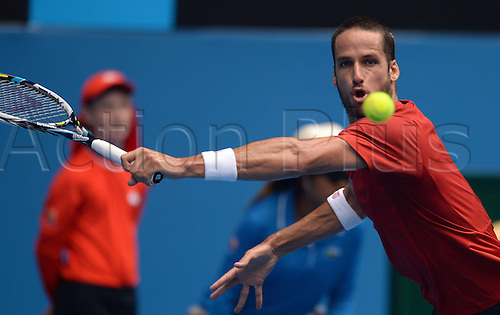 18.01.2014. Melbourne, Australia. Australian Open 2014, Melbourne Park,ITF Grand Slam Tennis Tournament. Feliciano Lopez of Spain returns the ball during the men s singles 3rd round match against Andy Murray of Great Britain at 2014 Australian Open tennis tournament in Melbourne, Australia, Jan. 18, 2014.
