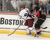 Danny Linell (BC - 10), Matt Petgrave (UNB - 40) - The Boston College Eagles defeated the visiting University of New Brunswick Varsity Reds 6-4 in an exhibition game on Saturday, October 4, 2014, at Kelley Rink in Conte Forum in Chestnut Hill, Massachusetts.